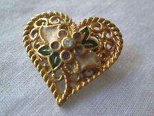 Love You*Rhinestone & Enamel*New* Avon Vintage*Flowered Heart Pin/Pendant*I