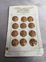 Rare Set 12 Antique French Belle Epoque Enamel Gilt Buttons Mode de Paris Card