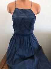 Lucky Brand Womens Schiffly Bib Sun Tank Dress Sundress Blue Size Small S Lined