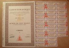 Action. LA ROUTE PLASTIQUE - Action de 100 francs au porteur 1963