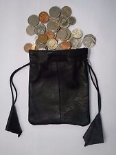 Soft Leather Drawstring Pouch for Taxi Travel and Many Uses Black