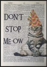 Cat Quote Vintage Dictionary Page Wall Art Print Picture Grumpy Pun Funny Animal