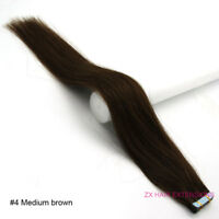 """Seamless 20pcs PU Skin Weft Tape in Remy Human Hair Extensions 16"""" 30g Straight"""
