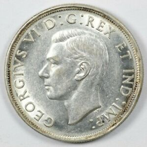 1938 Canada George VI Early Silver Dollar $1 - Better Date Lustrous