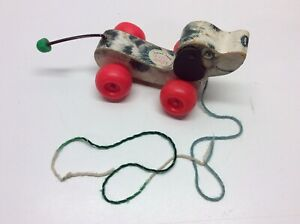 Vintage Fisher Price Little Snoopy Wooden Pull Toy 1965