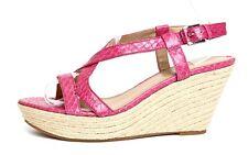 Via Spiga Women's Pink Leather Espadrille Wedge Sandals Sz 9.5M 3688