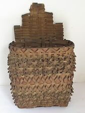 Antique Penobscot Indian Splint Wall Hanging Basket from Maine