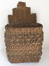 Antique Penobscot Indian Splint Wall Hanging Basket from Maine
