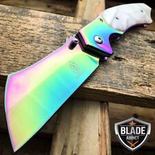 "8"" RAINBOW Tactical Cleaver Razor Blade Spring Assisted Pocket Knife - PBK205RB"