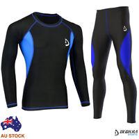 Mens Compression Base Layer Tights, Pants+Shirt Skin Tight Yoga, Fitness Rashie
