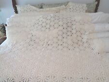 "Hand Crochet Antique tablecloth Natural in color Very exceptional 64"" x 106"""