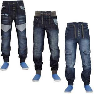 New Mens Cuffed Denim Jeans Stylish Regular Fit Pants Straight Leg Trousers