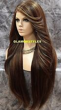 Long Straight Brown Blonde Mix Lace Front Full Wig Heat Ok Hair Piece #8.27.613