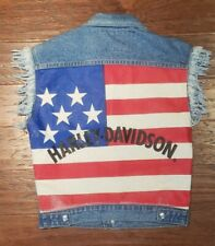 Vintage Harley-Davidson American Flag Motorcycle Riding Denim Vest Small