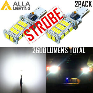 Alla Lighting 2600lm 912 921 Strobe BackUp|Brake Light Bulb|Center High 3rd Stop