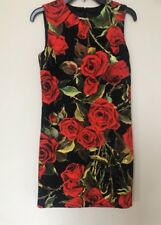 Dolce & Gabbana Black Floral Rose Print Brocade Cotton Dress IT 40/US 4 $1945