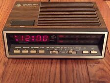 Vintage GE Alarm Clock AM FM Radio Red Display Woodgrain 7-4616B Tested Works
