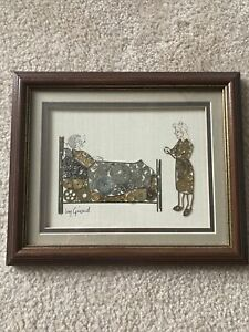 Rare Vintage Signed By Artist Girard Watch Part Picture Sick Patient & Nurse $65