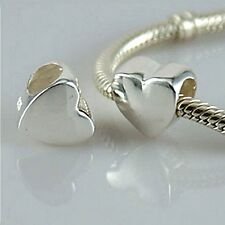 HEART - LOVE - VALENTINE - Solid 925 sterling silver European charm bead