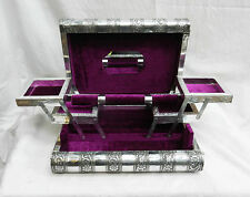 Extra Large Embossed Indian Style Silver Metal Locking Jewellery Box - SECONDS