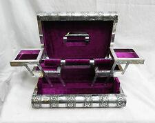 EXTRA Large in rilievo stile indiano argento scatola portagioie bloccaggio in metallo-secondi