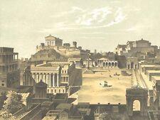 Rome FORUM ROMANUM TEMPLES ARCHES ~ 1893 Architecture Art Print Engraving RARE!