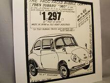 1969 Subaru 360 Auto Pen Ink Hand Drawn  Poster Automotive Museum