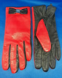 Kate Spade Lamb Leather Bow Gloves Red Soft  Black Like New No Signs of Wear