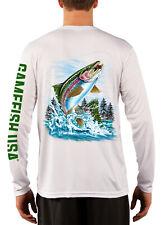 Men's UPF 50 Long Sleeve Microfiber Performance Fishing Shirt Trout