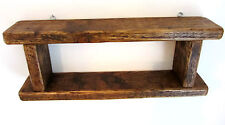 75CM HANDMADE RECLAIMED DISTRESSED PLANK WOOD RUSTIC BROWN WAXED 2 TIER SHELF