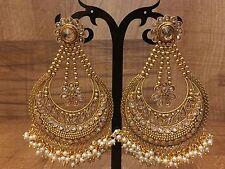 Indian Pakistani Ethnic Bollywood Gold Plated WhitePearl Moti Jhumki Bali Earing