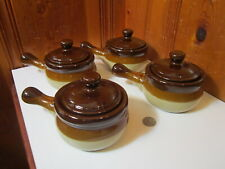 Set of 4 French Onion Soup Chili Bowl 16 oz Brown Beige Pottery Crock Lid Handle