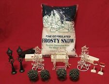 Christmas Holiday Village Accessories Lot - Lighted Trees Archway Streetlights