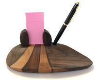 Vintage Wooden Pen Holder Desk Set Hand Carved Olive Wood Office Organizer Cards