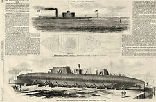 Civil War US Navy Construction of Ironclads at Charleston Vintage Prints