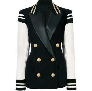 Womens Formal  Mixed Color Collar Blazer Punk Double Breasted Casual Coat Jacket