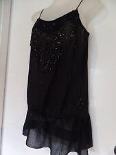 women's black party dress top EVENING beaded shimmering fringe SPORTGIRL xs 6 8