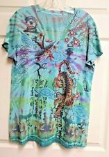 Unbranded Womens Blue Tie Dye Graphic T-Shirt With Chinese Art Tiger Bird Size L