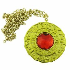 Caribbean Aztec Pirates Coin Medallion Charm Fancy Dress Necklace Gold Ruby 60cm