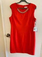 Calvin Klein Women Chain Neck Ponte Sheath Dress size 16