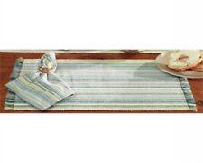4 Woven Textured Placemats Newport Beach Coastal Stripes Blue Green Tan White