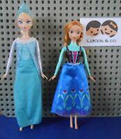 LOT de 2 POUPEES MANNEQUIN DISNEY LA REINE DES NEIGES FROZEN ELSA & ANNA Mattel