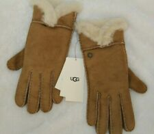 UGG $165 Women's Shearling Sheepskin Suede Leather Mila Gloves Chestnut S