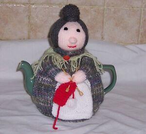 New Hand Knitted Knitting Nanny Tea Cosy