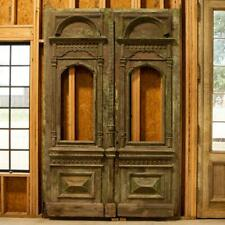 Antique Original 9' Tall Green Painted Carved Salvaged Doors from Hungary