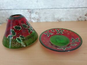 Yankee Candle Red Green Glass Holly Flower Christmas Shade Topper & Tray