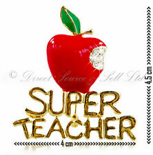 Pin SUPER TEACHER Present Thank You Brooch Red Diamante GIFT FREE BOX School
