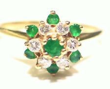 Vintage 14K Solid Gold Natural Emerald White Diamond Engagement Ring .65CT Retro