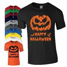 Happy Halloween Pumpkin Scary Face T Shirt Bats Fancy Dress Birthday Mens Top