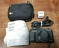 Olympus Stylus SH-50 iHS 16MP Digital Camera Black Bundle Lot With Case/Charger